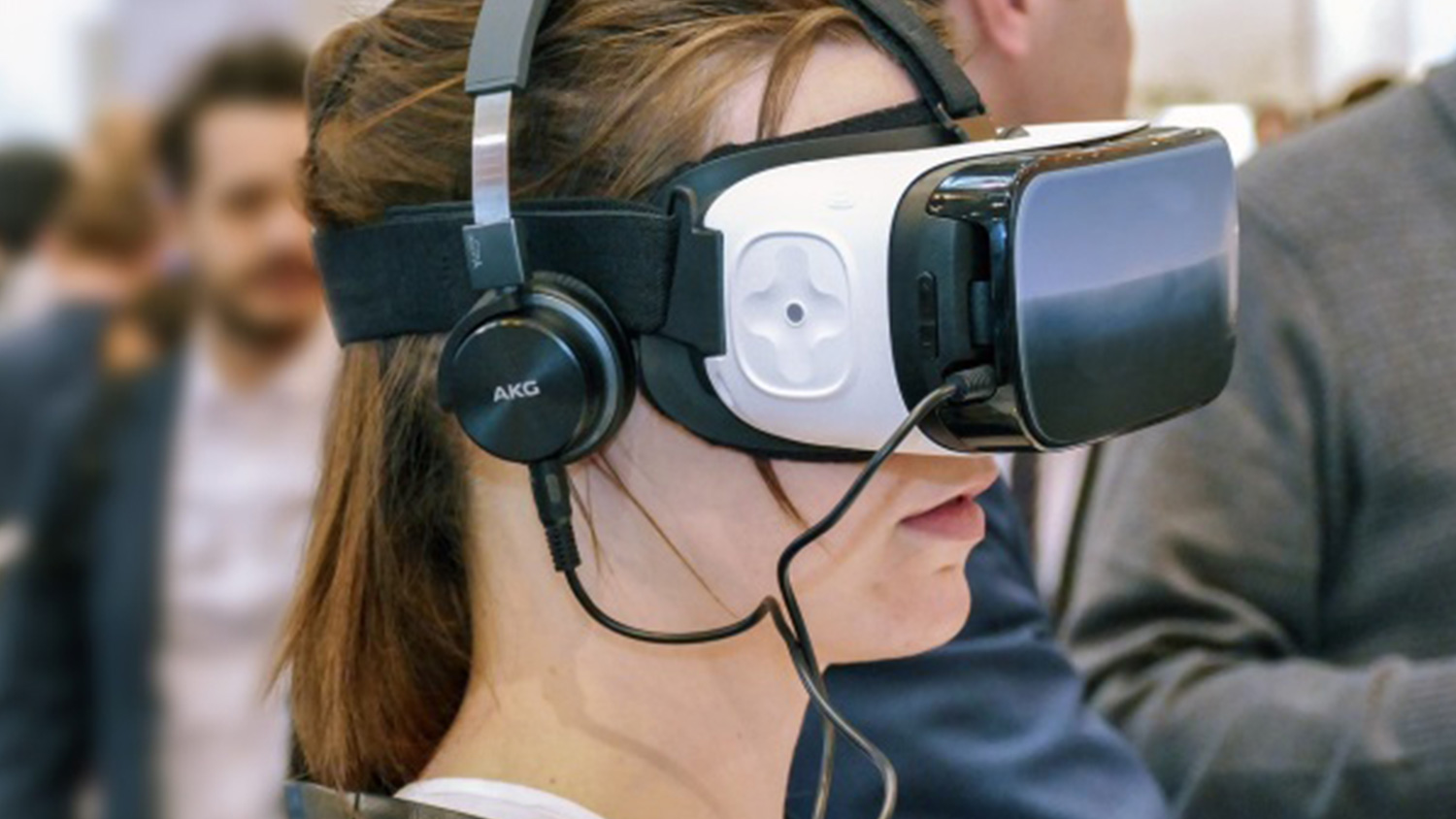 Virtual reality headset in use